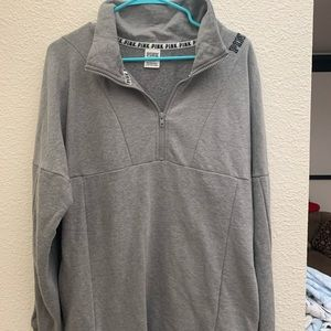 Grey over sized quarter zip pull over